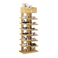 Kệ giầy dép 6 tầng - Kệ giầy dép gỗ đẹp 6 tầng có ngăn tủ phụ- kệ giầy xương cá