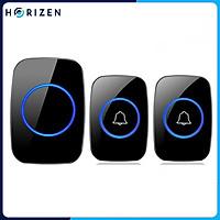 Chuông cửa không dây thông minh Horizen 2 nút bấm - 1 chuông, chống nước khoảng cách sử dụng trong 300M, 60 loại nhạc chuông hay Horizen CH-12