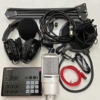 Combo trọn bộ sound card Takstar SC-M1 và Micro Takstar PC-K200 thu âm live stream, karaoke cực hay, kẹp bàn màng lọc, tai nghe kiểm âm - Hàng chính hãng
