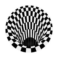 3D Space Round Carpet, Checkered Vortex Optical Illusions Non Slip Area Rug Anti-Slip Floor Mat Non-Woven Black White