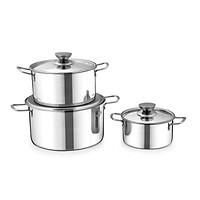 Bộ nồi inox 1 đáy dùng được mọi loại bếp SUNHOUSE SH114(16 - 20 - 24cm)