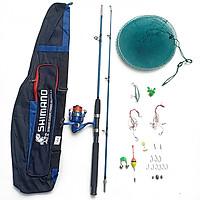 Bộ Cần câu cá 2 khúc đặc ruột SHIMANO siêu bền + Máy câu cá WAGO NL3000 + Đầy đủ phụ kiện chỉ việc đi câu - TPB115