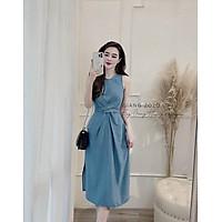 váy suông - đầm suông nữ dáng dài xoắn eo buộc dây sau màu xanh