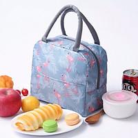 Túi đựng cơm giữ nhiệt Cao Cấp 2 ngăn, 3 lớp hoạ tiết thú cưng (size 21x11x19 cm)