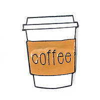 Ly coffee 1 - Pin sticker ghim cài áo