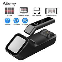 Aibecy 3-in-1 Barcode Scanner Handheld 1D/2D/QR Bar Code Reader Support BT & 2.4G Wireless & USB Wired Connection with