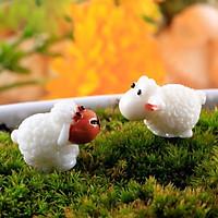 Set 5 tượng hình cừu mini bằng nhựa PVC trang trí vườn