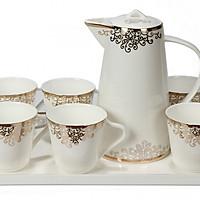 Bộ tách trà khay Sứ xương Bone Porcelain (Bình 1L) (Nhiều hoa văn)