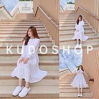 Váy babydoll trắng cúc cổ tay bồng tiểu thư thời trang hàn quốc/ Váy nữ dáng suông ulzzang bánh bèo xinh xắn_kudoshop