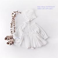 Sét váy trắng ren mềm mại đầy tháng/ thôi nôi cho bé gái (kèm mũ bèo tiểu thư) nơ lụa eo cao cấp