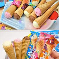 Hộp 10 Bánh ốc quế Glico nhân kem (Vanilla, Dâu, Chocolate) 87g - Nhập khẩu Nhật Bản