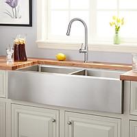 Bộ chậu rửa chén Apron sink và vòi rửa dây rút RANOX RN44997