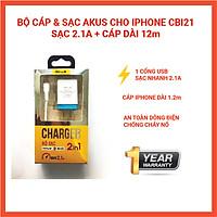 Hàng chính hãng - Bộ Adapter sạc kèm cáp sạc điện thoại AKUS 2.1A