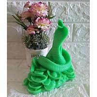 Tượng Đá Trang Trí Rắn cuộn vàng Phong Thủy - Cao 16cm - Màu xanh ngọc - RX16