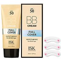 Kem nền BB Cream kiềm dầu, lâu trôi ISK FULL COVER BB CREAM SPF 50+/PA+++ Hàn quốc 45ml/ Hộp TẶNG 1 KHUÔN MÀY