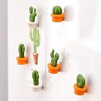 6pcs Cactus Shape Magnetic Patch Refrigerator Message Sticker Ornaments