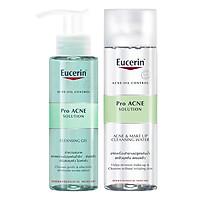Bộ Nước Tẩy Trang Da Mụn Eucerin Pro ACNE Solution Acne & Make-up Cleansing Water (200ml) Và Gel Rửa Mặt Cho Da Dầu Mụn Eucerin ProAcne Solution Cleansing Gel (200ml)
