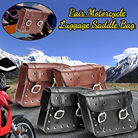 Pair Universal Motorcycle Tool Bag Luggage Side Pannier Saddle Bags PU Leather 30*28*10.5CM