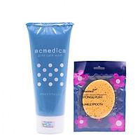 Combo Sữa Rửa Mặt Ngăn Ngừa Mụn, Sạch Nhờn, Ngừa Thâm Nhật Bản Naris Cosmetic Acmedica Acne Care Wash (100g) + Bông bọt biển massage mặt Hàn Quốc Aroma – Hàng chính hãng