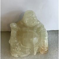 Phật để xe hơi phật di lặc ngọc Việt Nam đá tự nhiên màu trắng trong thấu quang canxite trong cho người mệnh Kim và Thủy