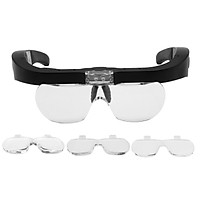 5X Magnifying Headset with LED Light Magnifying Glass Head Mounted Jewelry Loupe Magnifier with Multiple Lens 2 LED
