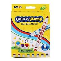 Bộ bút 2 đầu gồm đầu bút dấu các hình ngộ nghĩnh và đầu bút vẽ:  vỉ 8 bút AMOS COLORS AND STAMP