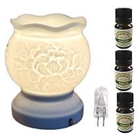 Đèn xông tinh dầu trắng size L  hình hoa mẫu đơn AH31 và 3 tinh dầu bạc hà Eco 10ml và 1 bóng đèn