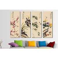 Bộ 4 tấm tranh treo tường Tứ Quý TB.TQ904488 /Gỗ nhập khẩu Hàn Quốc-Bo viền,chống lóa,ẩm mốc,mối mọt