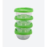 Set 4 hộp nhựa tròn Hàn Quốc - Sử dụng được với lò vi sóng - Màu xanh lá