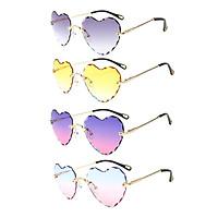 4pcs Vintage Heart-shaped Rimless Sunglasses Designer Tinted Lens Eyewear