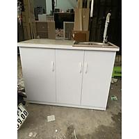 Tủ bếp nhựa đài loan màu trắng có bồn rửa và mặt bếp dán gạch