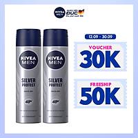 Bộ đôi Xịt Ngăn Mùi NIVEA MEN Silver Protect Phân Tử Bạc Giảm 99.9% Vi Khuẩn Gây Mùi (150ml) - 82959