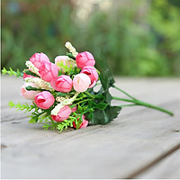 Hoa giả Bó 15 bông hoa hồng nhí màu Đỏ phối Hồng
