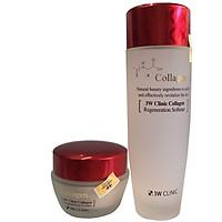 Combo Nước Hoa Hồng 3W Clinic Collagen Regeneration Softener 150 ml(đỏ) Và Kem Dưỡng Trắng Sáng Tái Tạo Da 3W Clinic Collagen Regeneration Cream( 60ml)
