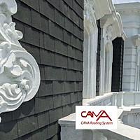 Tấm lợp bitum phủ đá CANA Hàn Quốc đa tầng dark green - tấm dán mái nhựa đường phủ đá màu xanh lá nhẹ cho mái bê tông, biệt thự, nhà phố, nhà tiền chế, nhà gỗ, đóng gói 2.54m2 phủ mái /gói