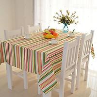 Khăn trải bàn vải bố - Sọc xanh hồng - mẫu P09