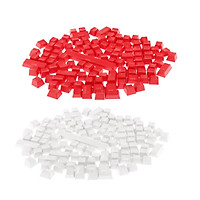 2 Pieces 108 Keys Translucent Keycaps for Mechanical Keyboard Red + White