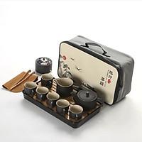 Bộ âm trà bằng gốm sứ cao cấp pha trà đạo - Kèm Khay & Túi Hoa Văn