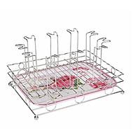 Khay úp ly inox Thái Long cao cấp 25 x 33 x 17 cm - kèm khay phíp đựng nước