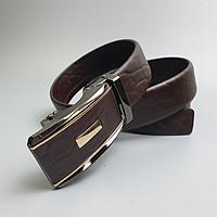 [Da thật] Dây lưng da bò vân voi 3 lớp khóa lăn BL108 (Nâu) 35mm - 100% da bò thật, BH 3 năm