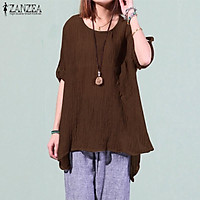 ZANZEA Women Autumn Winter Long Sleeve Pullover Top Tee Shirt Tunic Blouse