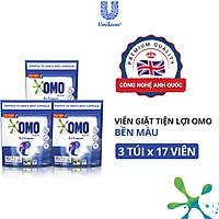 Combo 3 Túi 17 Viên giặt OMO Cho máy giặt cửa trước và cửa trên Bền Màu Công nghệ Anh Quốc