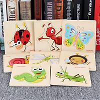 Combo 8 tranh ghép chủ đề côn trùng bằng gỗ an toàn cho bé