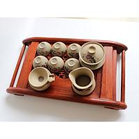 Khay trà cuốn gỗ hương ta đỏ kèm khay inox hứng nước sang trọng KTH46