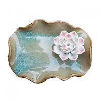 Đĩa đế cắm trầm handmade gắn hoa bằng gốm DDT02