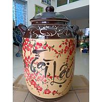 Hũ đựng rượu gạo Gốm sứ Bát Tràng tài lộc vẽ hoa đào loại 30L