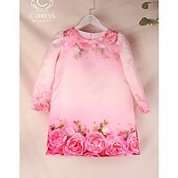 Áo dài cho bé in hoa hồng 3D diện tết cực xinh
