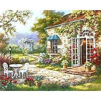 Tranh sơn dầu số hoá tự tô có khung đã căn 40x50 cm - Ngôi nhà hoa nắng