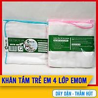[SET 2 KHĂN] Khăn Tắm Cho Bé Sơ Sinh 4 lớp Cao Cấp Emom 100% Cotton Mềm, Dày Dặn,Thấm Hút Tốt, An Toàn Và Thoải Mái Cho Bé