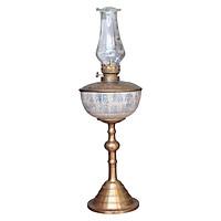 Đèn thờ dầu men rạn vẽ chữ nho chân đồng đế phồng gốm sứ Bát Tràng (đèn dầu, đèn thờ cúng)